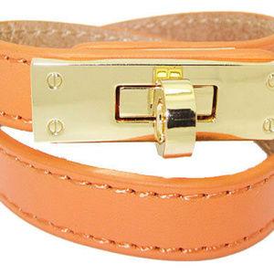 Wrap bracelet 18 kt gold buckle screw YOUR COLOR